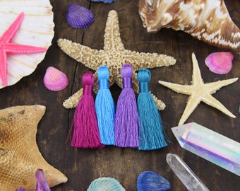 "Mermaid Mix: Mixed Summer Colors Tassel Pack, Teal, Fuchsia, Amethyst, Neon Blue, 2"" Inch Silky Tassels,  Jewelry Making Supply, 4 Pieces"