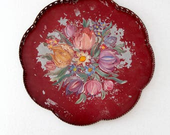 vintage painted metal tray, floral serving tray with caning pattern