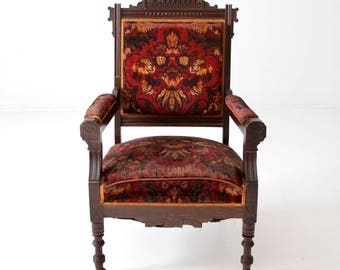 antique upholstered arm chair, Sheraton style chair