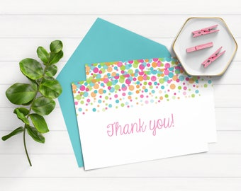 Pastel Sprinkle Thank You Note, Confetti Thank You Note, Rainbow Thank You Note, Thank You Note Instant Download