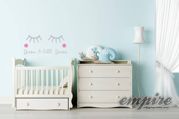 Lashes Decal, Dream A Little Dream-Kawaii Eyes, Personalized Girls Name Wall Decal