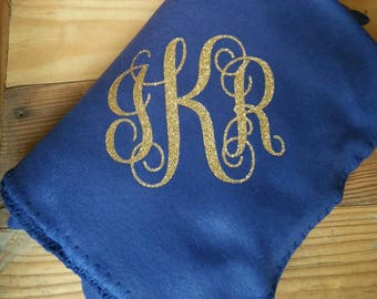 Monogrammed Fleece Throw Blanket/Personalized Blanket/Custom Blanket/MonogramThrow Blanket/Fleece Throw Blanket/Monogram Blanket