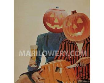 Halloween Decor Pumpkin Carving 8.5 x 11 Inch Print, Paper Collage Print, Halloween Wall Art, Weird Wall Decor, frighten