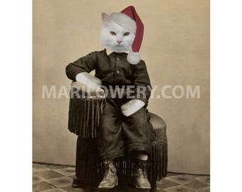 Christmas Wall Decor, White Cat Art Print, 8.5 x 11 Inch Print, Animal Wall Decor, Cat in Clothes and Santa Claus Hat, Christmas Art