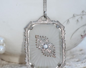 WOW Vintage Art Deco Camphor Glass Necklace,14K Gold Chain,Genuine 1920s Sunray Silver Filigree Pendant,Pot Metal,Lavaliere,Victorian,Gift