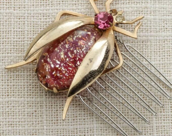 Rose Pink Gold Bug Rhinestone Hair Clip Embellished Comb Handmade in USA Hair Pins 16V