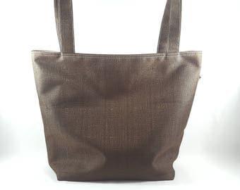 Dark Brown Reusable Shopping Bag with Long Shoulder Straps / Knitting Tote / Crochet Bag / Project Bag / Market Tote / Shoulder Bag S480