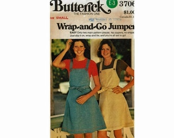 Easy 1970s Wrap-and-Go Apron Jumper Vintage Sewing Pattern Misses Size Small 8-10 Bust 31 1/2- 32 1/2 Butterick 3706