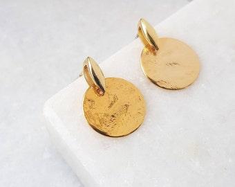 Gold Circle Stud Earrings, Gold Disc Earrings, Gold Coin Earrings, Disc Earrings, Circle Earrings, Ear Studs, Stud Earrings, Gold Earrings