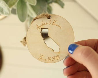 California Wedding Favor Ornaments | State Ornament | California Ornament | Engraved Ornaments | Bulk Pricing