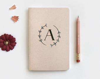 Bridesmaid Gift - Floral Monogram Notebook Journal & Pencil, Personalized Hostess Wedding Gifts, Hand Drawn Painted Wreath