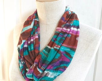 SALE Stretch Jersey Infinity Scarf. Bold Tribal Print. Soft and Lightweight Spring Summer Fall Accessory.