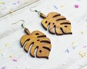 Wooden Monstera Lead Earrings   Cheese Plant Statement Jewellery   Plant Lady Dangle Earrings   Nickel Free Earrings   Gardener's Gift