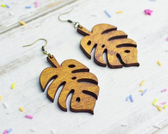 Wooden Monstera Lead Earrings | Cheese Plant Statement Jewellery | Plant Lady Dangle Earrings | Nickel Free Earrings | Gardener's Gift