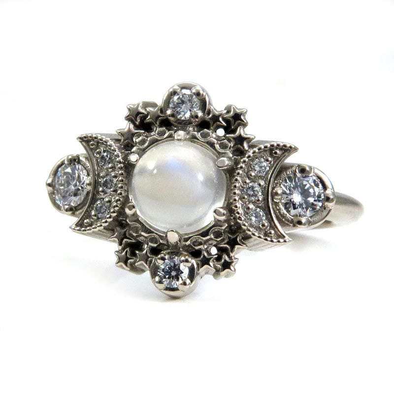 moonstone rings with stars - photo #14