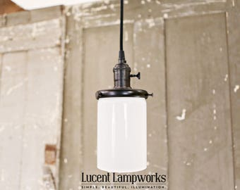 Pendant Lighting - Opal Cylinder - 4 Inch