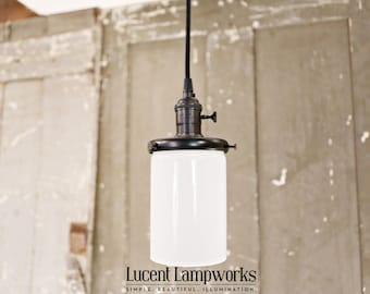 Pendant Lighting - Opal Cylinder - 4 Inch