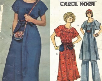 1970s Carol Horn Womens Hippie Maxi Dress, Tunic, Pants and Purse or Pouch Vogue Sewing Pattern 1411 Size 10 Bust 32 1/2 Vintage Patterns