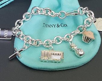 Tiffany Co Sterling Charm Bracelet Diamond Trolley, Enamel Cupcake, Pineapple, Heart, Love Note Size 7 Long