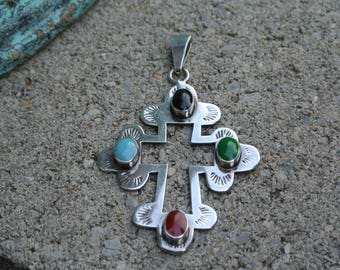 Large Cross ~ Open Center ~ Sterling Silver 925 ~ Made In Mexico ~ Necklace Pendant ~ Vintage Southwest Jewelry ~ 16.8 Grams