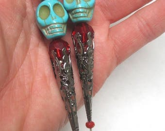 King & Queen Day of the Dead Cake Topper Sugar Skull Wedding Pin Bride Groom