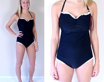new FRENCH MAID lace trim SWIMSUIT Medium cut out pinup sexy bathing suit black white swimwear one piece