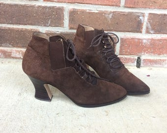 vtg 80s brown suede VICTORIAN lace up Ankle GRANNY BOOTS 7 leather grunge heels steampunk Chelsea boho womens