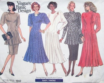 Easy Vintage 1980s Sewing Pattern Vogue Basic Design 1942 Tunic Top Skirt Dress Womens Miss Size 14 16 18 Bust 36 38 40 Uncut Factory Folds
