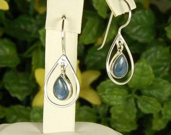 Kyanite Earrings, Denim Blue, Teardrop Shape, Sterling Framed, Kyanite Dangles, Natural Kyanite, Blue Kyanite