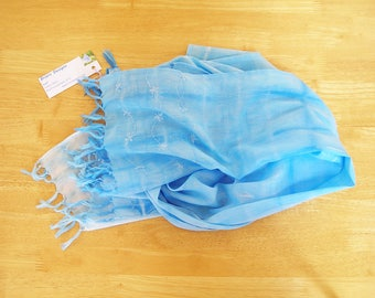 Blue Tie Dye Cotton Scarf With Hand Embroidery Details, Hand Dyed Scarf