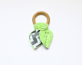 Wooden teether, wooden teething ring toy, krinkle toy, baby shower gift, gift for baby, gray and lime green, krinkle - ready to ship