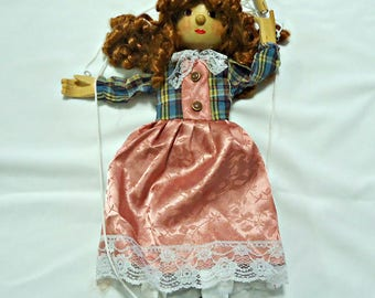 Vintage Marionette Wood Woman Lady Girl Wooden Puppet