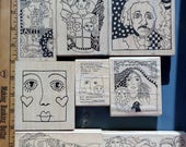 Rubber Stamps Lot | Wood Mounted Rubber Stamps | Paula Best | American Art Stamps | Scrapbooking | Card Making | Mermaid | Einstein | Cat