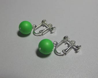 Green Clipon Earrings, Swarovski Earrings, Christmas Gifts for Her, Mom Gift, Sister Jewelry, Birthday Gifts, Pearl Earrings