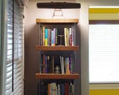 CUSTOM RESERVE for Chris - a pair of bookcases - shelving - modern industrial - from reclaimed roughsawn old growth fir and recycled steel