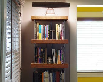 industrial bookshelf - bookcase - shelving - modern industrial - from reclaimed roughsawn old growth fir and recycled content steel