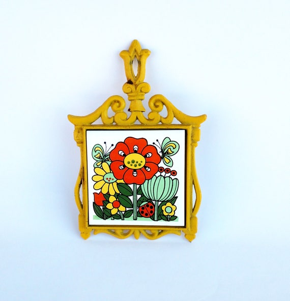Vintage 1960's Groovy Colorful Floral Ceramic Trivet in Wrought Iron Frame - Made in Japan by Price Imports