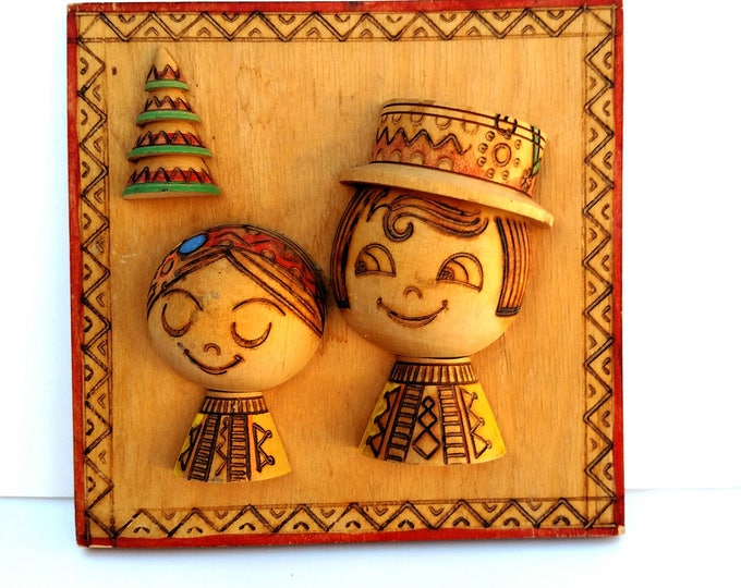 Vintage Folk Art Couple Wooden Plaque with Pyrography and Paint - From Russia