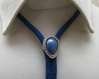 1960s Blue Jewel Bolo Tie, Vintage Jeweled Bolo Tie, Youth or Ladies Bolo Tie