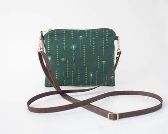 Floral Crossbody Bag, Cross Body Purse, Flat Shoulder Bag, Organic Cotton Purse, Cross Body Clutch, Small Fabric Bag, Adjustable Vegan Strap