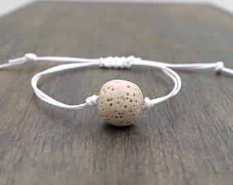 Light Brown Lava Bead Aromatherapy Bracelet Adjustable Essential Oil Diffuser Bracelet