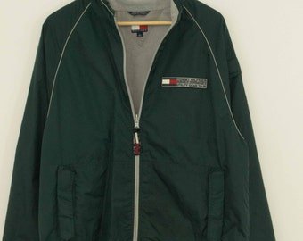 Tommy Hilfiger Utility Windbreaker Track Jacket - Size Medium - Forest Green