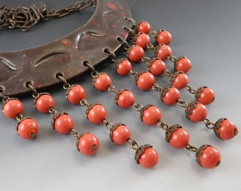 Ceramic Collar - Coral and Brown - Vintage Miriam Haskell Beads - (674)