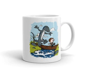 Jurassic World Owen and Blue Calvin and Hobbes Crossover Fan Art Drinking Mug