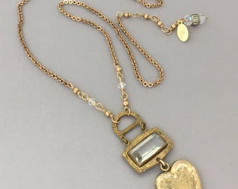 One of a Kind Unique Necklace - Heart Locket Pendant Necklace - Vintage Gold Filled Locket - Keepsake Jewelry Necklace Jewelry Gift for Wife