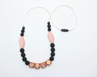Silicone Teething Necklace | Nursing Necklace | Breastfeeding Necklace | Teething Necklace for Mom | Chewelry | Teething Jewelry | Rose Gold