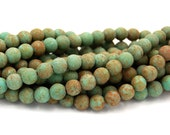 8mm Czech Glass Round Turquoise Stone Picasso  -25