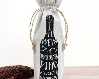 Wine Bag Natural Linen Hostess Gift