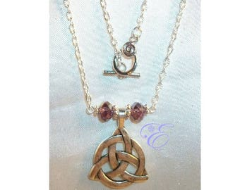 Triquetra Necklace - Amethyst Czech AB Crystal Beads