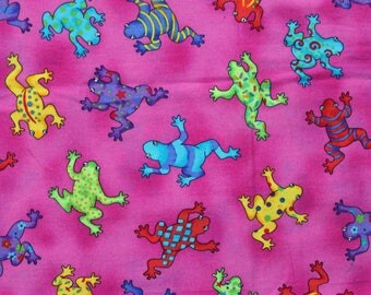 90's Colorful Frogs on Pink Fabric . Rainbow Toads . Green Red Yellow . Children's Material Project Quilting Scrap